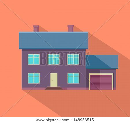 Happy house banner poster template. Exterior home icon symbol. Residential cottage. Part of series of modern buildings in flat design style. Real estate concept. Vector