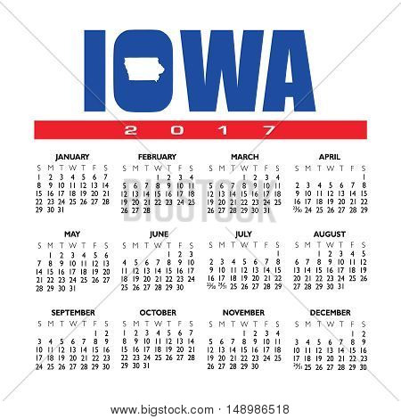 A 2017 creative Iowa calendar with the state outline