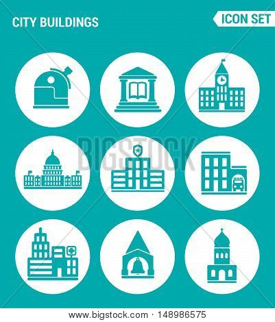 Vector set web icons. City buildings observatory library school university white house police station fire station hospital church. Design of signs symbols on a turquoise background