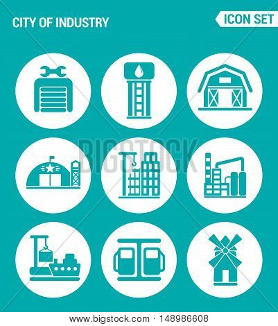 Vector set web icons. City of industry garage pumping station farm military base home building plant port mill filling station. Design of signs symbols on a turquoise background