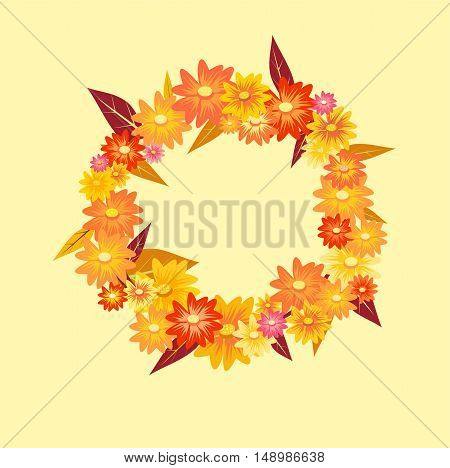 cute flowers autumn wreath on light background