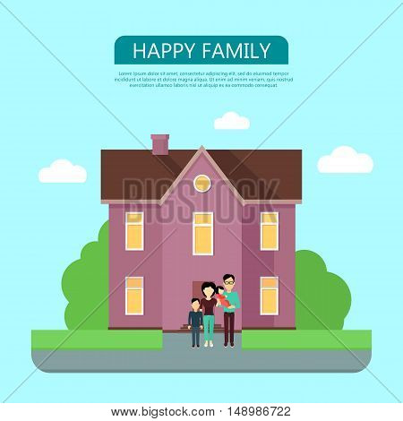 Happy family in the yard of their house. Home icon symbol sign. Colorful residential cottage in violet colors. Part of series of modern buildings in flat design style. Real estate concept. Vector