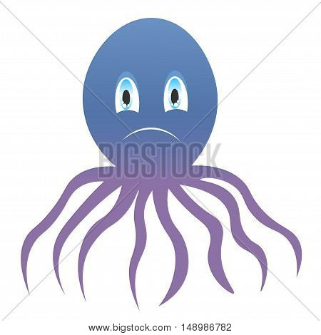 icon sad octopus. symbol, icon, emblem. vector illustration.