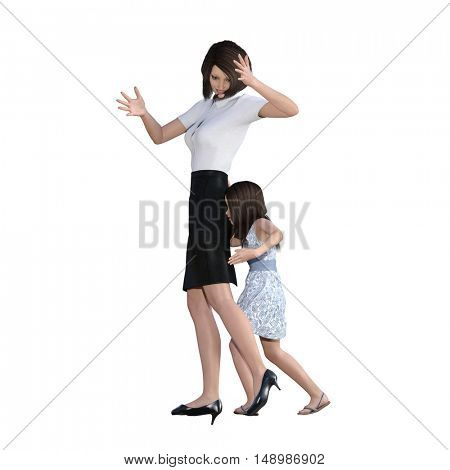 Mother Daughter Interaction of Girl Pushing Mom as an Illustration Concept 3D Illustration Render