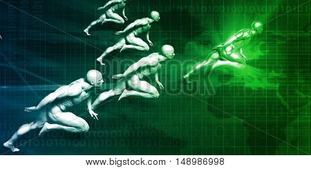 Competitive Advantage Against Other Business Competitors 3D Illustration