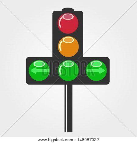 traffic light arrow. symbol, icon, emblem. vector illustration.
