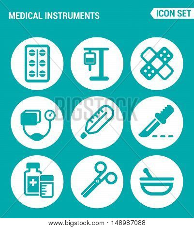 Vector set web icons. Medical instruments pills blood transfusion dropper patch tonometer thermometer scalpel medicine scissors. Design of signs symbols on a turquoise background