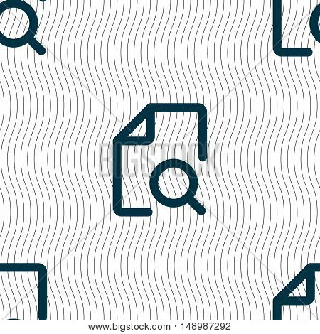 Search Documents Icon Sign. Seamless Pattern With Geometric Texture. Vector