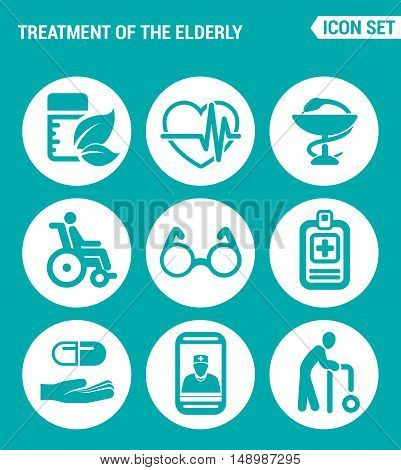 Vector set web icons. Treatment the elderly medicine heart palpitations pharmacy disabled person glasses prescription of treatment pills talk doctor old man. Design sign turquoise background