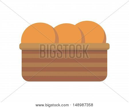 Bread in basket. Bread icon. Bakery logo. Bakery shop icon. Bakery basket icon. Bread in flat design isolated on white background. Vector illustration.