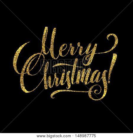 Gold Merry Christmas Card. Golden Shiny Glitter. Calligraphy Greeting Poster Tamplate. Isolated Black Background