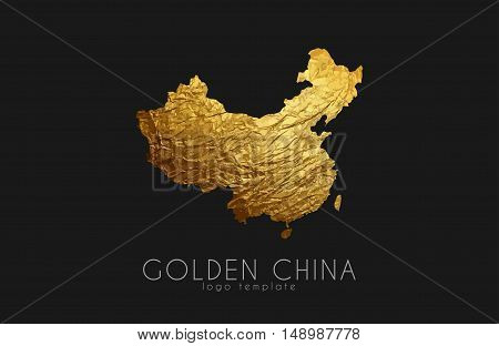China map. Golden China logo. Creative China logo design