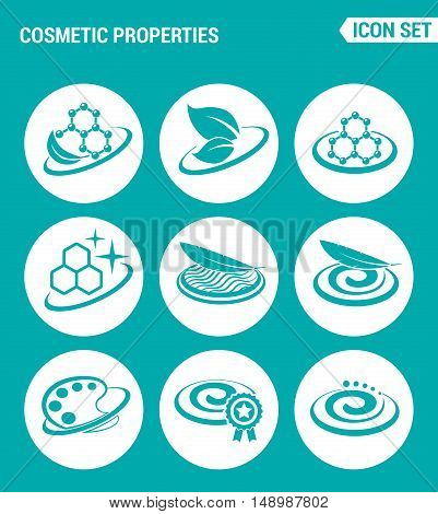Vector set web icons. Cosmetic properties lightness softness texture color improved formula. Design of signs symbols on a turquoise background