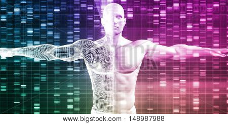 Genetics with Science Data as a Futuristic Concept 3D Illustration Render