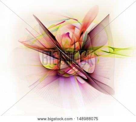 Abstract line motion of different colors, curves abstraction color explosion. Unrecognizable figure. Expressive sketch on a white background isolated