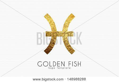 Golden fish. Golden zodiac sign. Fish zodiac