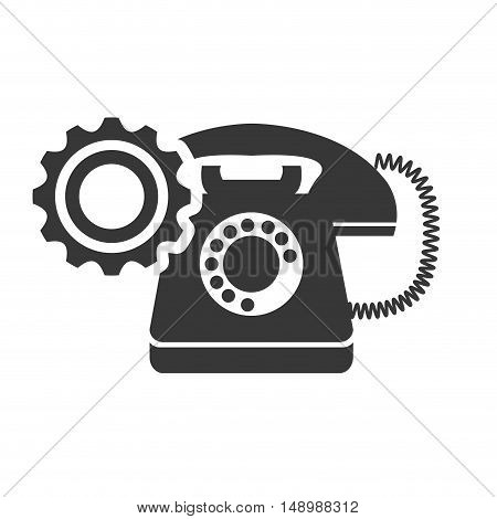 retro telephone device with gear wheel icon silhouette. vector illustration