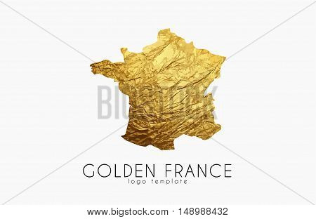 France map. Golden France logo. Creative France logo design