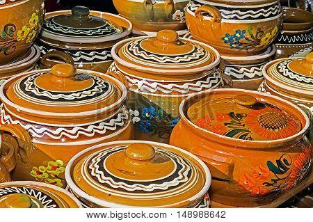 Ceramic pots traditional for Corund area. Romania.
