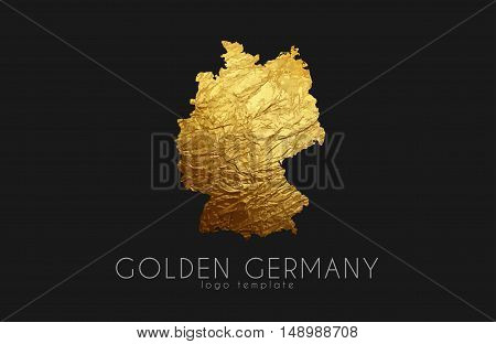 Germany map. Golden Germany logo. Creative Germany logo design