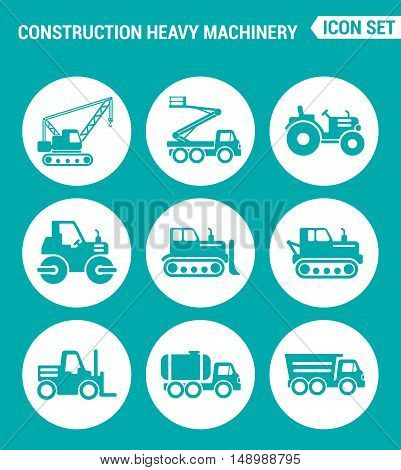 Vector set web icons. Construction heavy machinery tractor mobile aerial tower crane bulldozer dump truck Vehicles with a barrel. Design of signs symbols on a turquoise background