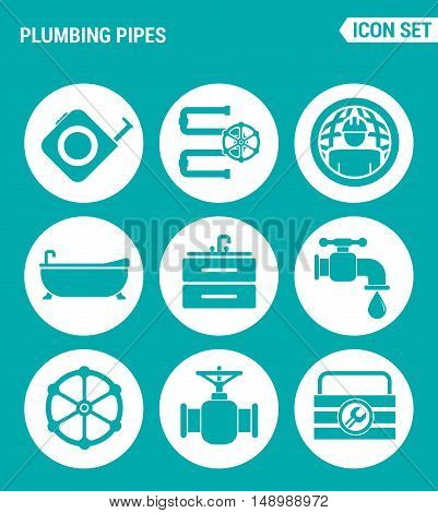 Vector set web icons. Plumbing pipe plumbing worldwide plumber bathroom sink faucet equipment. Design of signs symbols on a turquoise background