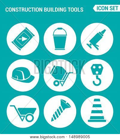 Vector set web icons. Construction Building tools cement bucket silicone helmet concrete mixer crane screw construction cone. Design of signs symbols on a turquoise background