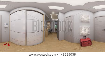 illustration spherical 360 degrees seamless panorama hallway interior design. Modern studio apartment in the Scandinavian minimalist style
