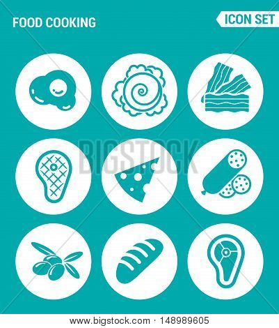 Vector set web icons. Food cooking egg cabbage bacon steak cheese sausage olives loaf meat. Design of signs symbols on a turquoise background
