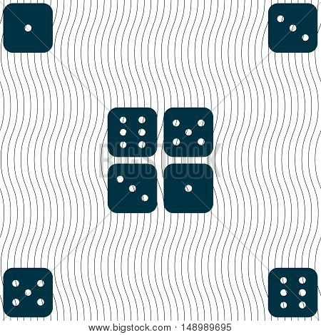 Dices Icon Sign. Seamless Pattern With Geometric Texture. Vector