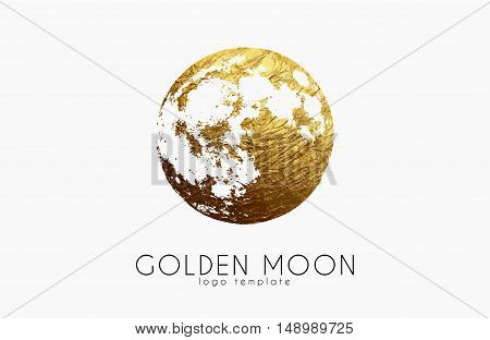 Moon logo design. Creative moon logo. Golden logo. Full moon.