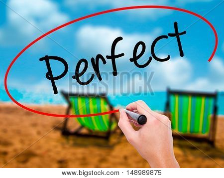 Man Hand Writing Perfect With Black Marker On Visual Screen