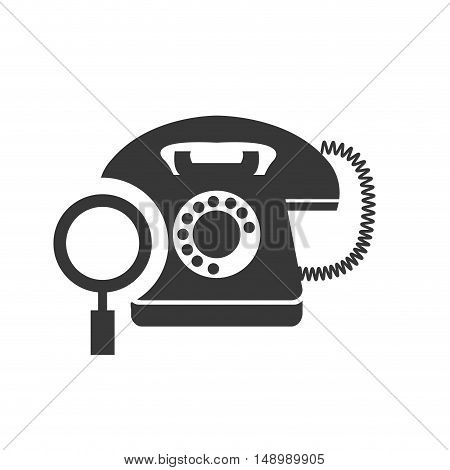 retro telephone device with magnifying glass icon silhouette. vector illustration