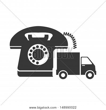 retro telephone device with cargo truck icon silhouette. vector illustration