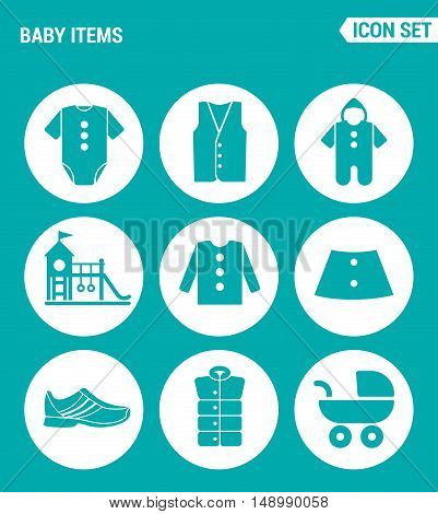 Vector set web icons. Baby items clothes jacket pullover shirt shoes stroller playground. Design of signs symbols on a turquoise background