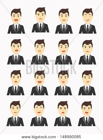Vector Business man Expressing different emotions. Man in suit avatars set.