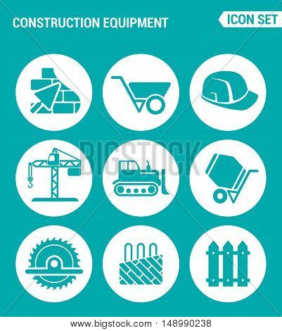 Vector set web icons. Construction equipment wheelbarrow helmet crane bulldozer cement mixer saw floor heating. Design of signs symbols on a turquoise background