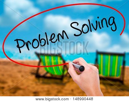 Man Hand Writing Problem Solving With Black Marker On Visual Screen