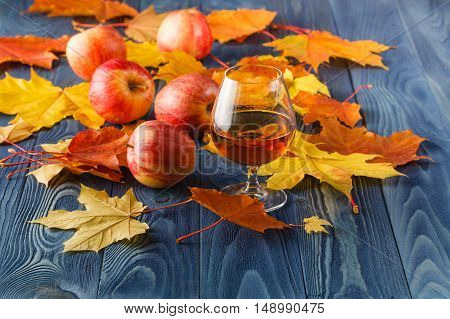 Cider - alcohol apple drink with autumn leaves