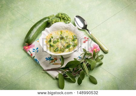 soup with couscous zucchinis and broccoli