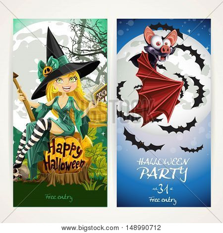 Vertical banners for Halloween party with witch sit on pumpkin and bat fly on full moon background
