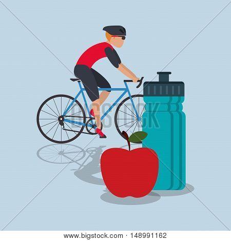 flat design bike with apple and sports bottle  image vector illustration