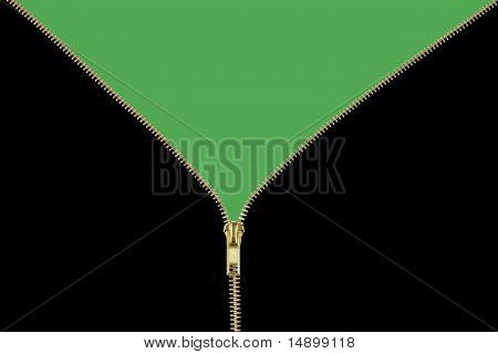 Gold Zipper Unzipping Black to a Green Background