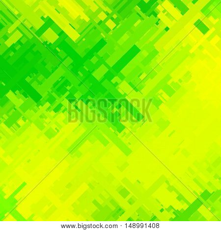 green and yellow glitch background, distortion effect, abstract texture, random diagonal lines for design concepts, posters, presentations and prints. Vector illustration.