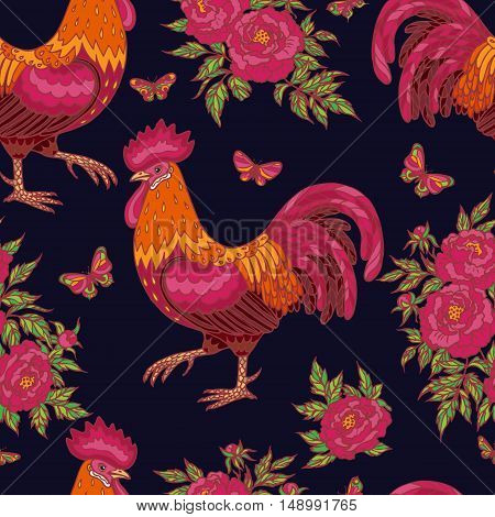 Hand drawn contoured red rooster flying butterflies and pink peony flowers on dark blue background. Fire rooster is Chinese calendar symbol. Seamless pattern.