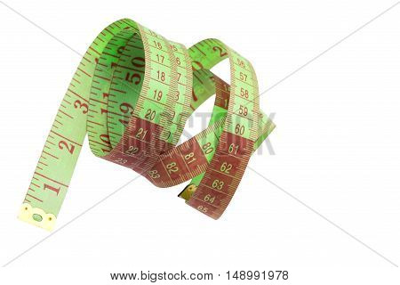 Measure Tape. Isolated Over White.