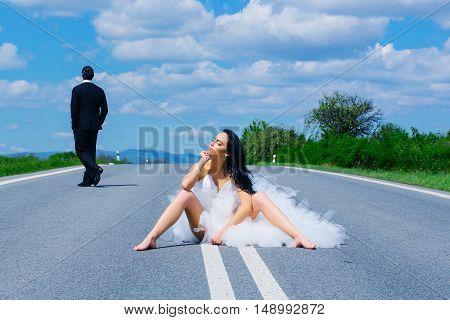 Wedding Happy Couple On Road