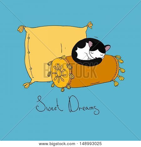 Beautiful pillows and cute cat on a white background. Hand drawn vector.