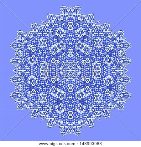 Round Geometric Ornament Isolated on Blue Background