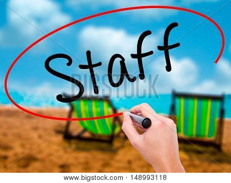 Man Hand Writing  Staff With Black Marker On Visual Screen